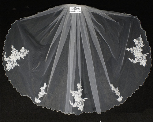 "30"" Long White One-Tier Bridal Wedding Embroidered Veils 1"