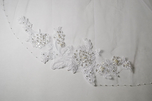 "30"" Long White One-Tier Bridal Wedding Embroidered Veils 2"