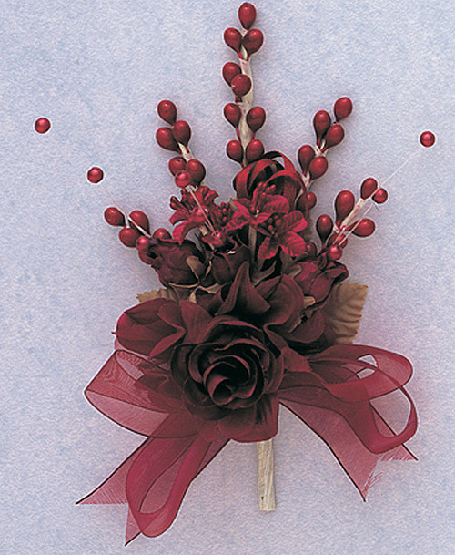 "7"" Burgundy Bridal Corsage Silk Spray Flowers - Pack of 12"