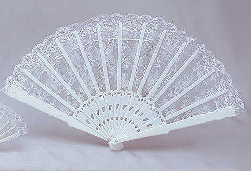 "11.5"" Tall White Lace Wedding Fans - Pack of 12 Count"