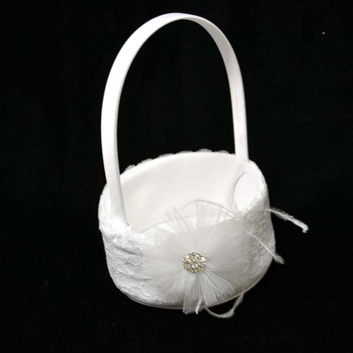 Lace Wedding Flower Girl Basket with Rhinestone Organza Flower