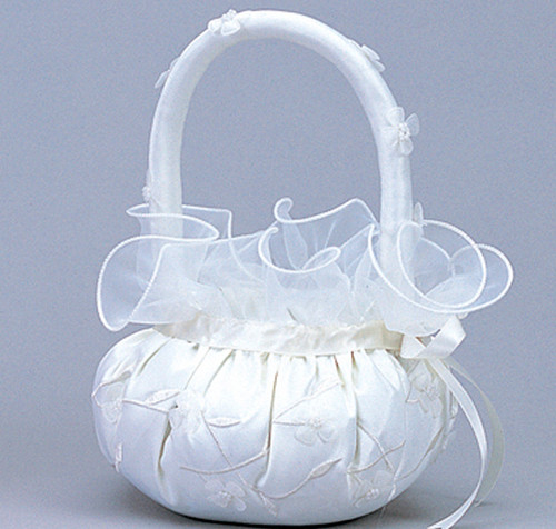 White Wedding Satin Flower Girl Basket 2