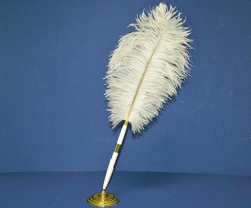 Ivory Wedding Reception Pen Set Ostrich Feather Pen Set