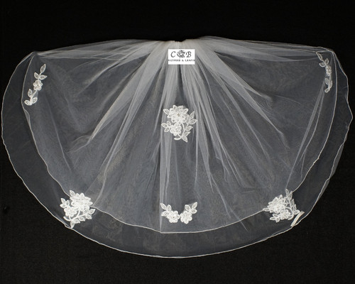 "25""x 29"" White Two-Tier Bridal Wedding Embroidered Veils"