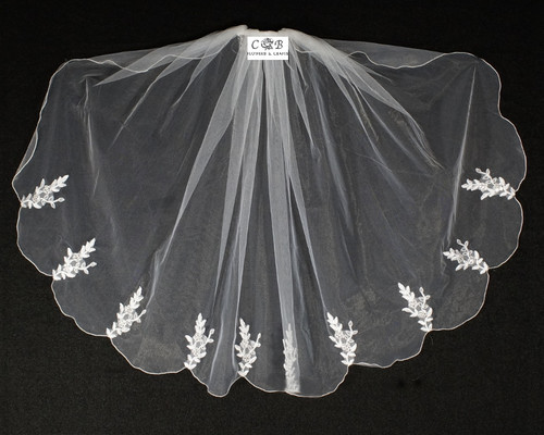 "30"" Long White One-Tier Bridal Wedding Embroidered Veils 3"