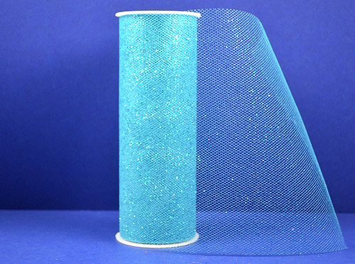 """6""""x10 yards (30FT) Turquoise Glitter Tulle Rolls - Pack of 6 Tulle Spool"""