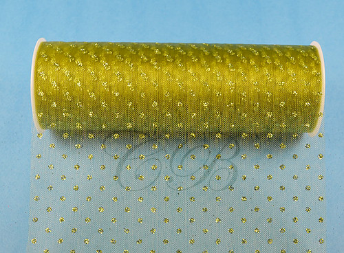 """6""""x6 yards (18 FT) Olive Sparkle Organza Rolls with Olive Glitter Dots - Pack of 6 Spools"""