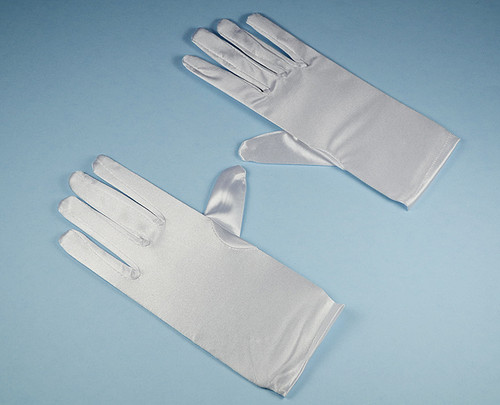 White 8-12 Years Old Kids Satin Gloves Wrist Length - Pack of 12 Pairs