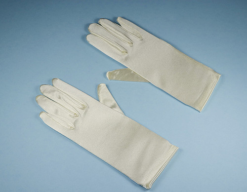 Ivory 4-7 Years Old Kids Satin Gloves Wrist Length - Pack of 12 Pairs