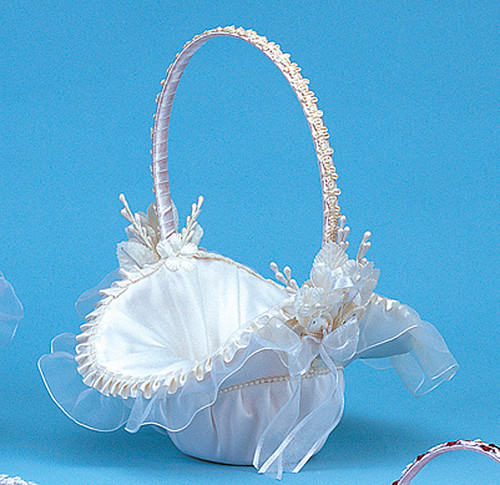 "10"" x 12"" Ivory Satin Flower Girl Basket with Pearl"