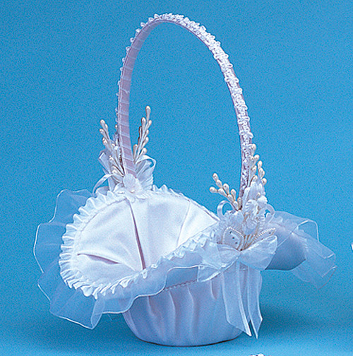 "10"" x 12"" White Satin Flower Girl Basket with Pearl"