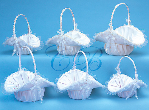 Satin Flower Girl Basket - Set of 3 Baskets