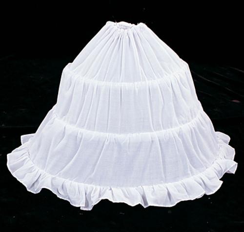 """53"""" Diameter 16"""" Long White Cotton Wedding Bridal Petticoat - 3 Bone Hoop Slip Skirt"""