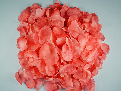Coral Wedding Silk Rose Flower Petals - 12 Packs