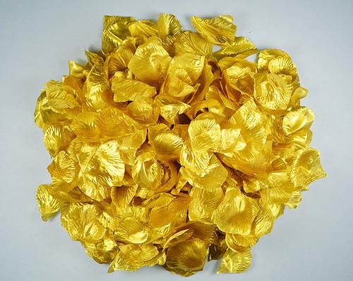 Gold Wedding Silk Rose Flower Petals - 12 Packs
