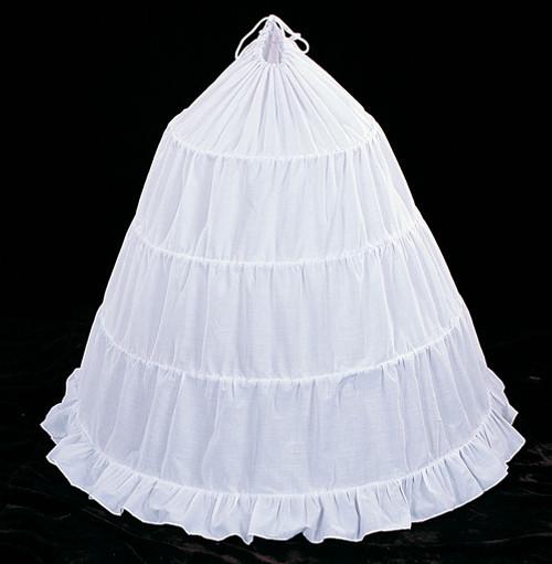 """125"""" Diameter 40"""" Long White Cotton Wedding Bridal Petticoat - 4 Bone Hoop Slip Skirt"""