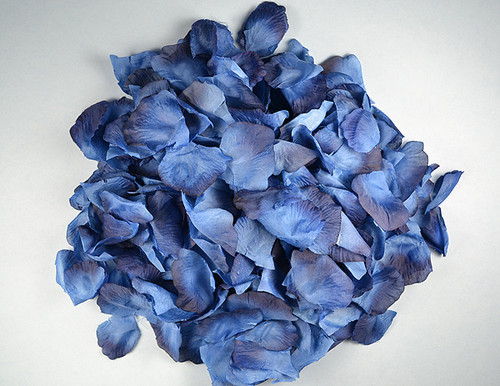 Navy Blue Wedding Silk Rose Flower Petals - 12 Packs