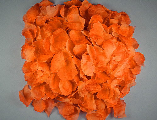 Orange Wedding Silk Rose Flower Petals - 12 Packs