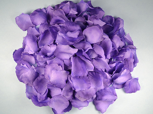 Purple Wedding Silk Rose Flower Petals - 12 Packs