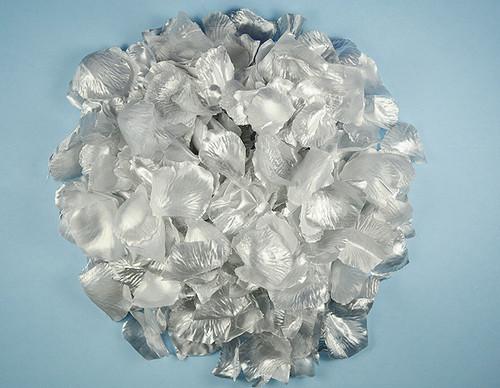 Silver Wedding Silk Rose Flower Petals - 12 Packs