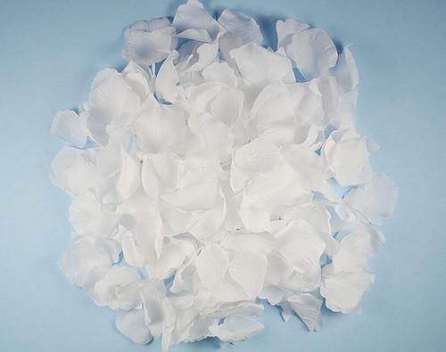 White Wedding Silk Rose Flower Petals - 12 Packs