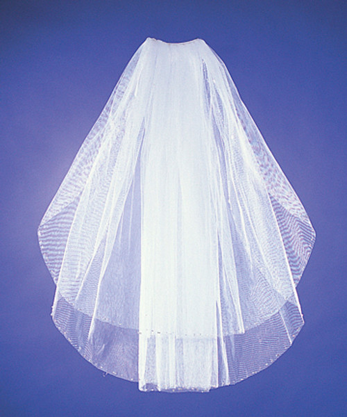 Two-Tier Bridal Wedding Veils with Bugle Detail on Edge