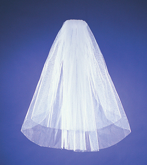 Two-Tier Bridal Wedding Veils with Sequins Detail on Edge