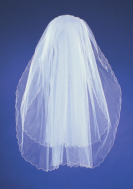 "25""x29"" Two-Tier Bridal Wedding Veils with Pencil Edge"