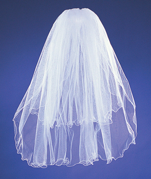 "20""x26"" White Two-Tier Bridal Wedding Veils with Wired Edge"