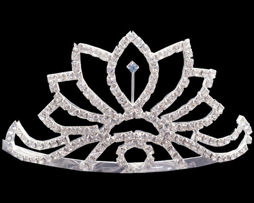 "2.5"" Large Crown Rhinestone Tiara with Blue Diamond Center"