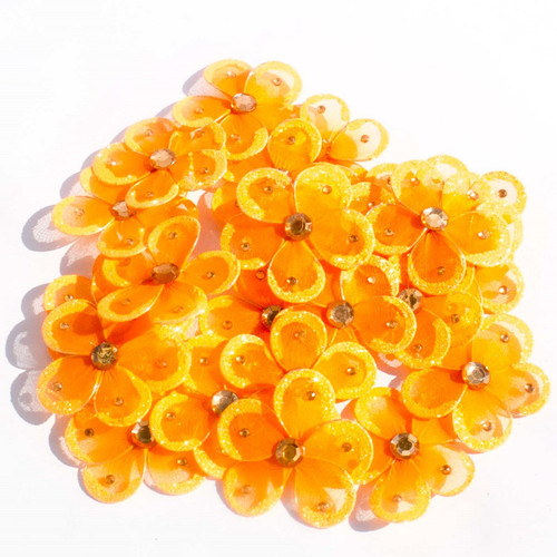 "2.5"" Orange Wired Organza Flower - Pack of 25"