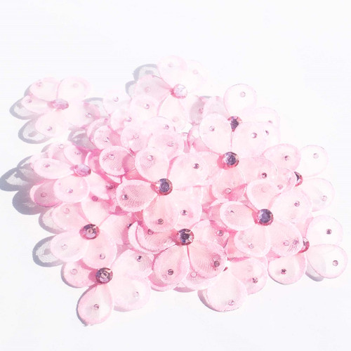 "2.5"" Pink Wired Organza Flower - Pack of 25"