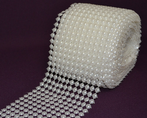 "4.25"" x 10 Yards (30 ft) White Pearl Mesh Wrap Roll"