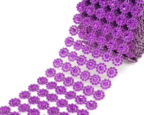 "4"" x 10 yards (30ft) Purple Flower Mesh Wrap"