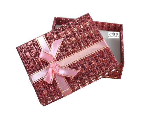 "3.5"" Mauve Ribbon Glittery Paper Gift Box - Pack of 12"