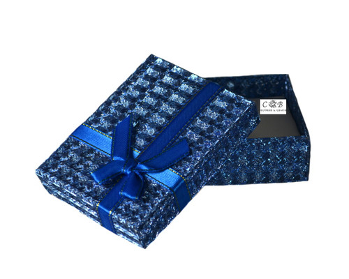"3.5"" Blue Ribbon Glittery Paper Gift Box - Pack of 12"