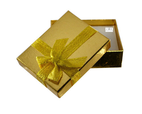 """3.5"""" Gold Shiny Paper Gift Box with Ribbon - Pack of 12"""