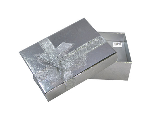 """3.5"""" Silver Shiny Paper Gift Box with Ribbon - Pack of 12"""