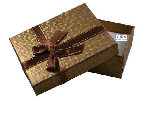 "3.5"" Tan Ribbon Paper Gift Box - Pack of 12"