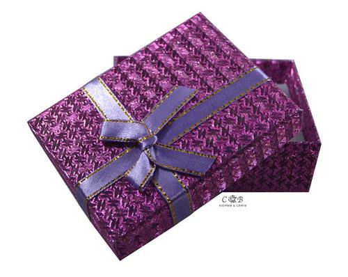 "3.5"" Purple Ribbon Glittery Paper Gift Box - Pack of 12"