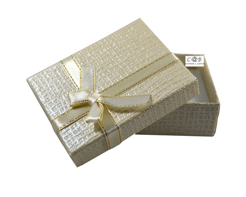 """3.5"""" Ivory Ribbon Paper Gift Box - Pack of 12"""