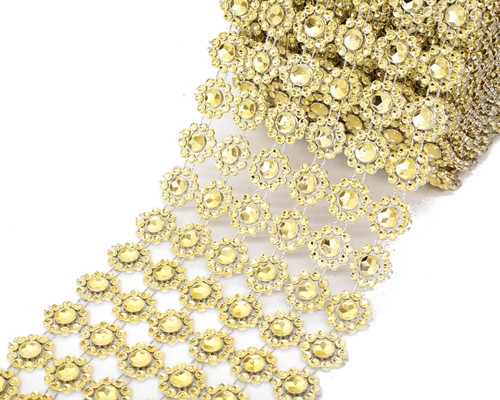 "4"" x 10 yards (30ft) Gold Flower Mesh Wrap"