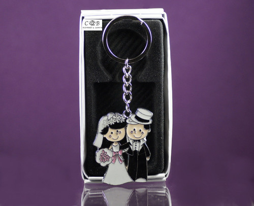 Wedding Couple Metal Keychain - Pack of 12