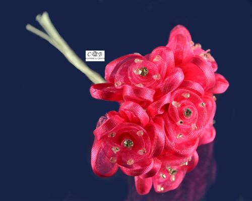 "1"" Fuchsia Organza Ribbon Edge Flowers with Rhinestone"