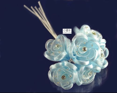 "1.5"" Light Blue Organza Ribbon Edge Flowers with Rhinestone"