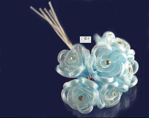 "1.5"" Light Blue Organza Ribbon Edge Flowers with Rhinestone"