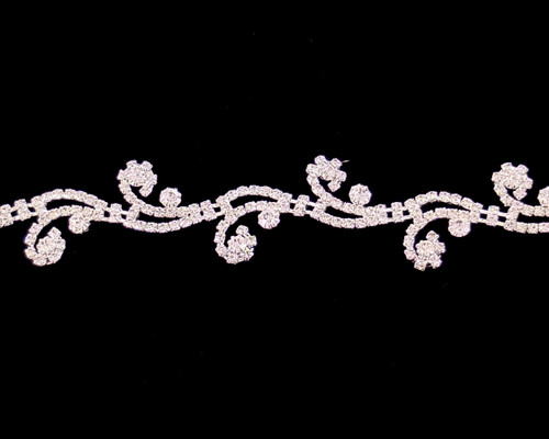 Silver Crystal Rhinestone Fashion Trim