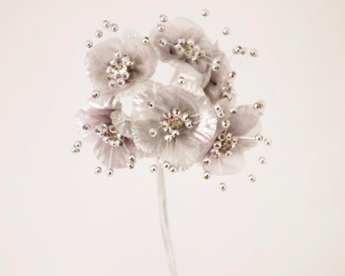 """1.5"""" Silver Organza Flowers with Rhinestones - Pack of 72"""