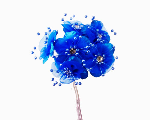 """1.5"""" Royal Blue  Organza Flowers with Rhinestones - Pack of 72"""