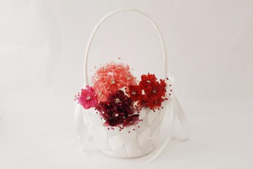 """1.5"""" Burgundy Organza Flowers with Rhinestones - Pack of 72"""